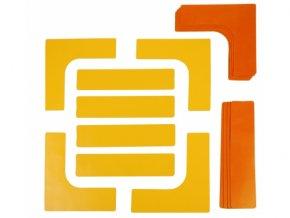 Značka PVC na podlahu - sada 4x lajna, 4x roh / žlutá